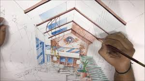 Interior design drawings perspective Easy Interior Design Perspective Drawing Water Colour Rendering Technique Youtube Interior Design Perspective Drawing Water Colour Rendering