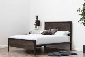 wood panel bed. Marlow Rustic Metal Industrial Wood Panel Bed Frame - Double / King Size B