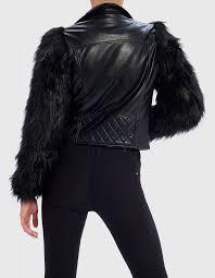 black contrast sleeve faux fur jacket