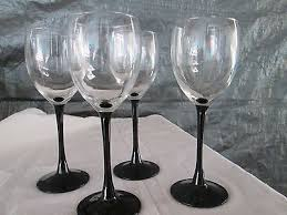 wine glasses with black stems 4 luminarc cristal darques durand wine glass black stem france 7