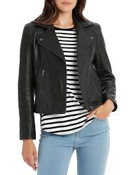 leather jacket with zip and pockets image 1
