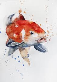 original watercolor painting koi fish gold fish sea children room art goldfish