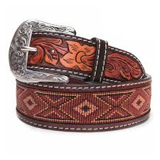 details about twisted x men s beaded leather earth tone belt