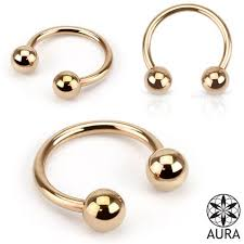 Rose Gold Ip Over 316l Surgical Steel Horseshoe Circular Barbell Ring