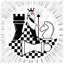 Icon Of Global Chess Game King With Figures Stock Vector Image