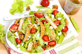 fresh garden salad with chicken. Unique Fresh Strawberry Chicken Salad With Candied Walnuts And Goat Cheese In Fresh Garden With