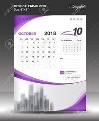 october 2018 desk calendar template design stock vector 89303910