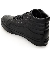 vans sk8 hi slim rivets black leather shoes