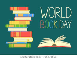 world book day stack of colorful books with open book on teal background education