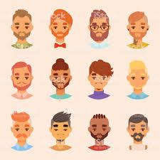 文字様々 なひげを生やした男顔アバター ファッション流行に敏感な男性