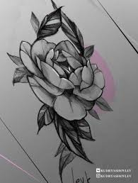 пион тату эскиз роза арт Rose Tattoo Levk Lev Kudryashovtattoo