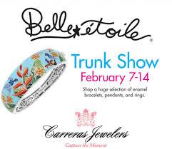 belle etoile trunk show featuring an enamel hummingbird bracelet