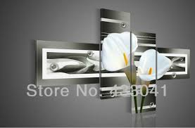 hand painted grey yellow white calla lily flower oil painting on canvas 4 piece set modern abstract wall art home decoration