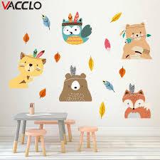 Vacclo <b>Indian Style Animal</b> Fox Pine Tree Wall Stickers Children's ...