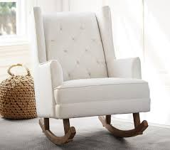 modern tufted wingback rocker stylish nursery chairs  pottery