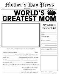 Word S Day Template Free Printable Mother S Day Newspaper Template For The Classroom
