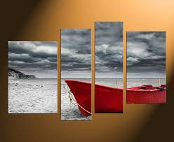 4 piece group canvas red boat canvas wall art grey cloud canvas photography  on boat canvas wall art with 4 piece large pictures red boat canvas photography black and white
