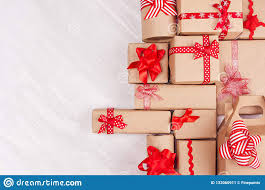 Gifts Background Christmas Gifts Background Various Craft Paper Gifts With