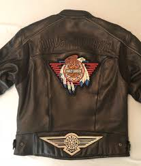 harley davidson concho patch leather jacket mens large mesh vents for air flow 1 of 11 see more