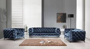 Modern blue couch Interior Design Vig Furniture Divani Casa Delilah Modern Blue Fabric Sofa Set