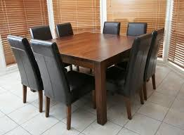 dining table chairs leather. solid wooden timber square table + 8 black leather chairs 9 piece dining package