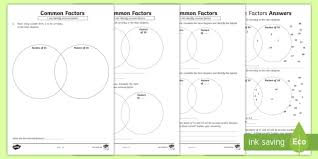Common Factors Worksheet