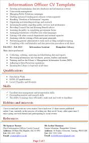 Resume Template Office Enchanting Information Officer CV Template Tips And Download CV Plaza