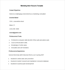 Internship Resume Template Adorable Marketing Resumes Templates Sample Marketing Intern Resume Template
