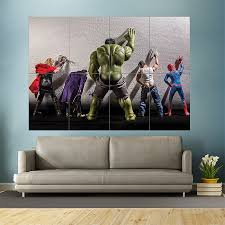 on giant wall poster art print with superhero peeing on walls block giant wall art poster