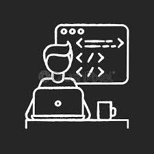 web developer chalk white icon on black