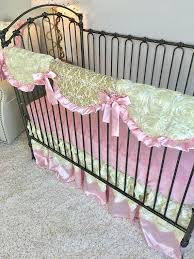 ivory roses and baby pink crib bedding gold girl hot