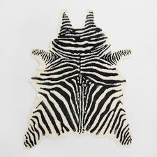 zebra area rug. Black And Ivory Faux Zebra Hide Area Rug