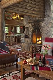 cozy log cabin den always love that touch of red