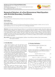 pdf numerical solution of a one dimensional heat equation with dirichlet boundary conditions