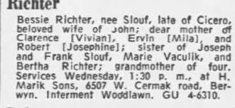Obituary for Richter Bessie Richter - Newspapers.com