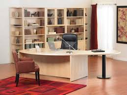 red home office. white themed cool home office design with neutral beige wood desk on the flooring red i