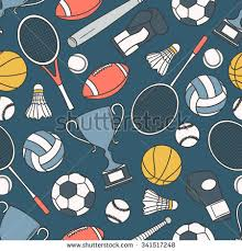 Hand drawn seamless pattern with collection of sports equipment. Design  background vector. Colorful illustration