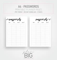 Password Log Printable Planner Pages Password Log Password Keeper A4 Etsy