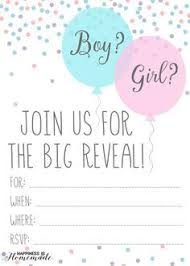 Baby Gender Reveal Party Ideas Free Printable Invitation
