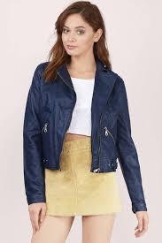 lumi navy moto jacket