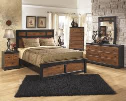 casual rustic brown - black master bedroom group, queen bed, nightstand,  dresser and