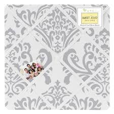 Damask Memo Board Avery Blue and Gray Damask Fabric Memo Board Sweet Jojo Designs 51