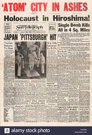 Image result for hiroshima-nagasaki bombed newspapers