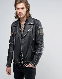 goosecraft goosecraft studded leather biker with patches men black
