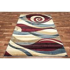 blue and red rug modern area beige black brown wave