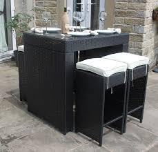 All Weather Black Rattan Outdoor Garden Furniture 5 Piece Bar Set