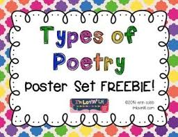 Types Of Poetry Anchor Chart Types Of Poetry Poster Set Freebie Teaching Poetry