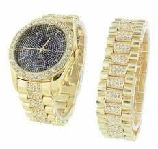 amazon com mens iced out watch matching bracelet gift set mens iced out watch matching bracelet gift set lab diamond techno pave 4812