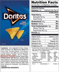 doritos chips nutrition facts 800 978