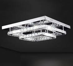 led ceiling lamp crystal chandelier color change 2 rectangular levels 40cm 40w